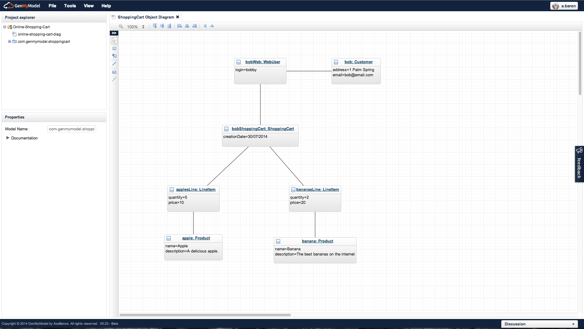 Object diagram instance diagram released the genmymodel blog object diagram created in genmymodel ccuart Choice Image