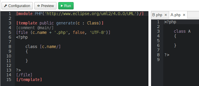 PHP Generated Code Preview